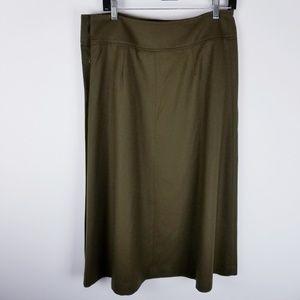 Talbots Skirts - Talbots green wool midi skirt side buttons size 8